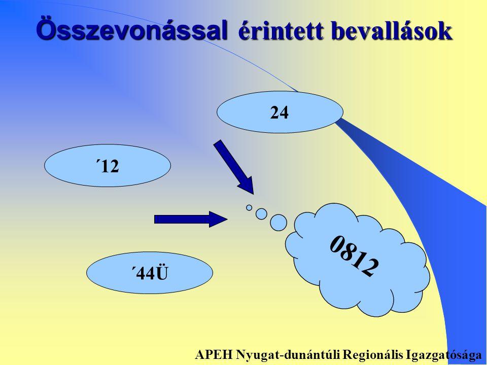 Összevonással érintett bevallások ´49 ´490 0849 APEH Nyugat-dunántúli Regionális Igazgatósága