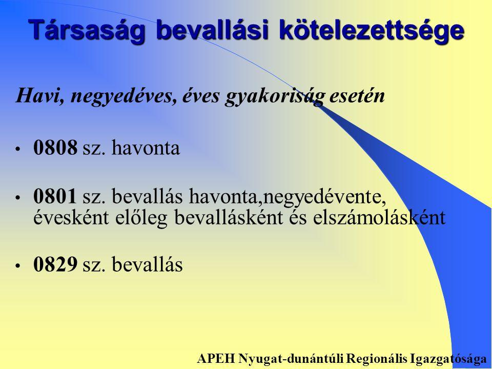Összevonással érintett bevallások ´12 ´44Ü 24 0812 APEH Nyugat-dunántúli Regionális Igazgatósága