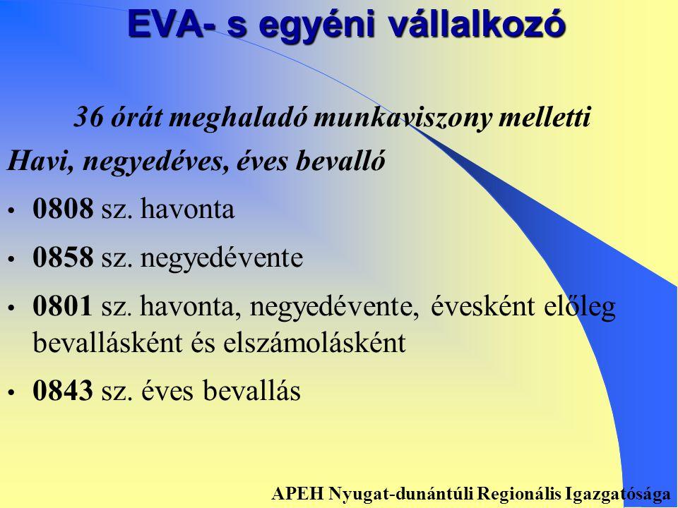 EVA- s egyéni vállalkozó Főfoglalkozású Havi, negyedéves, éves bevalló • 0808 sz.