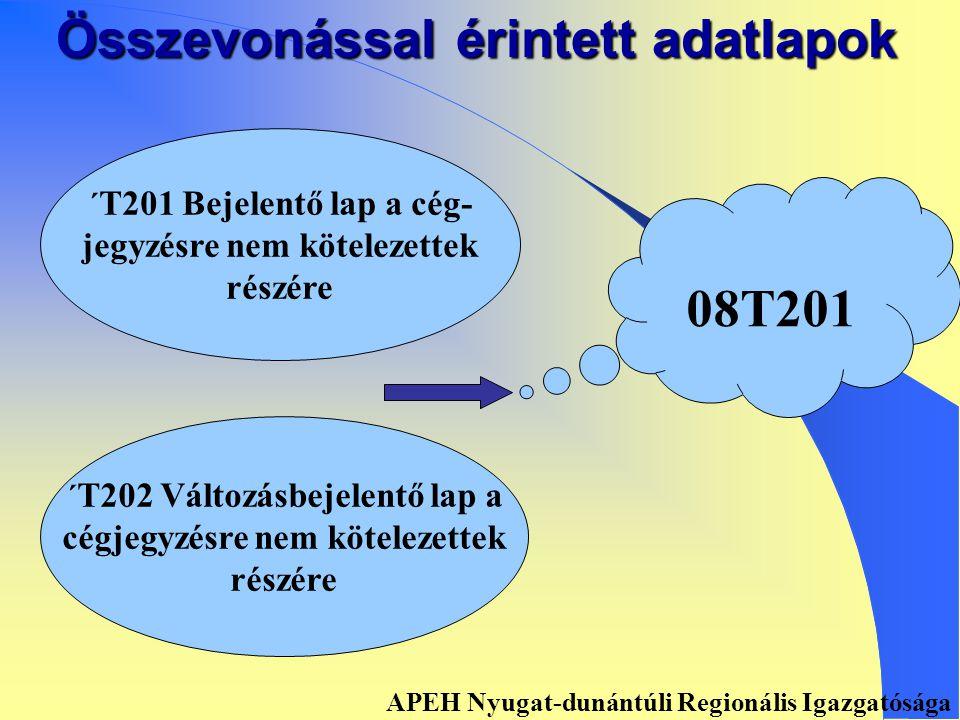 ADATBEJELENTŐ, ADATMÓDOSÍTÓ LAPOK APEH Nyugat-dunántúli Regionális Igazgatósága