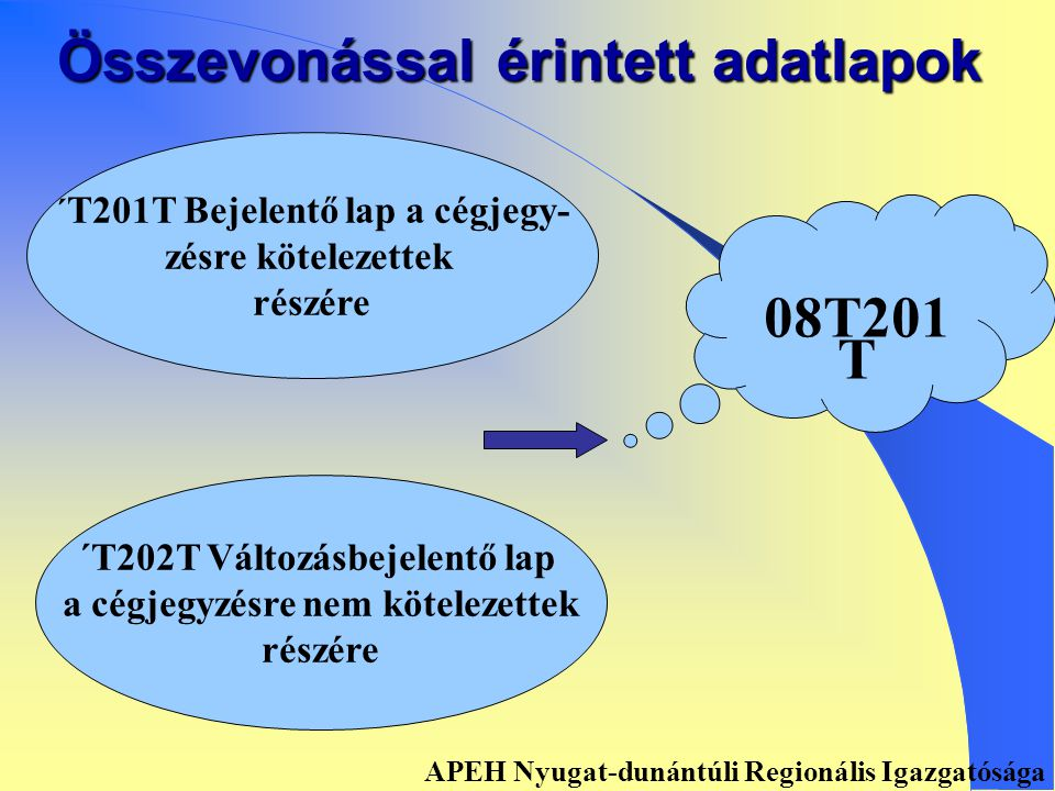 Összevonással érintett adatlapok ´ T201 Bejelentő lap a cég- jegyzésre nem kötelezettek részére ´ T202 Változásbejelentő lap a cégjegyzésre nem kötelezettek részére 08T201 APEH Nyugat-dunántúli Regionális Igazgatósága