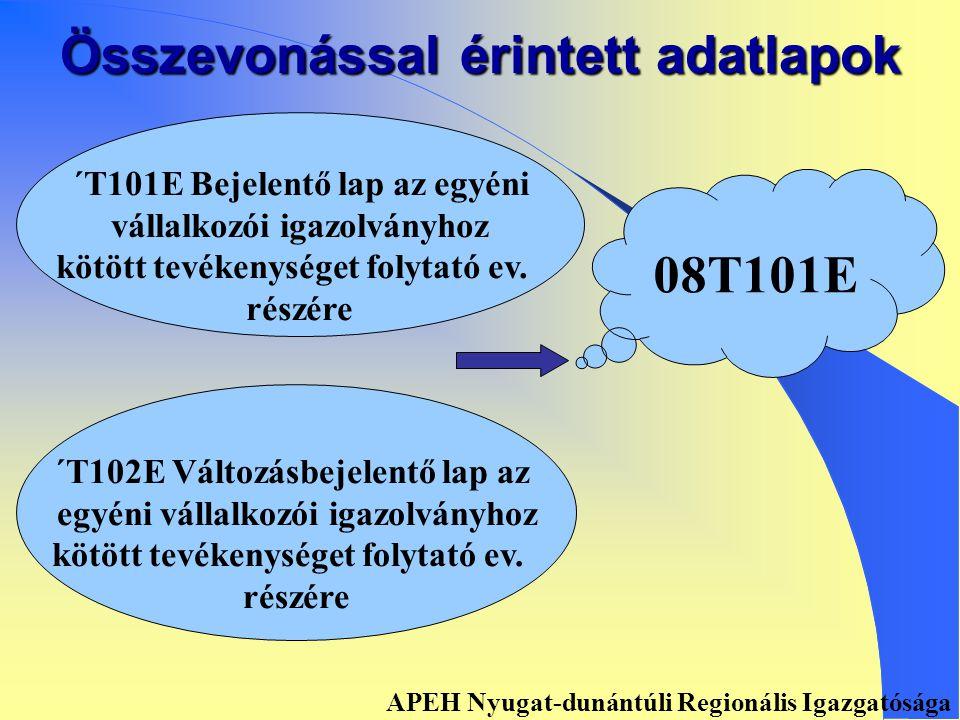Összevonással érintett adatlapok ´ T201T Bejelentő lap a cégjegy- zésre kötelezettek részére ´T202T Változásbejelentő lap a cégjegyzésre nem kötelezettek részére 08T201 T APEH Nyugat-dunántúli Regionális Igazgatósága