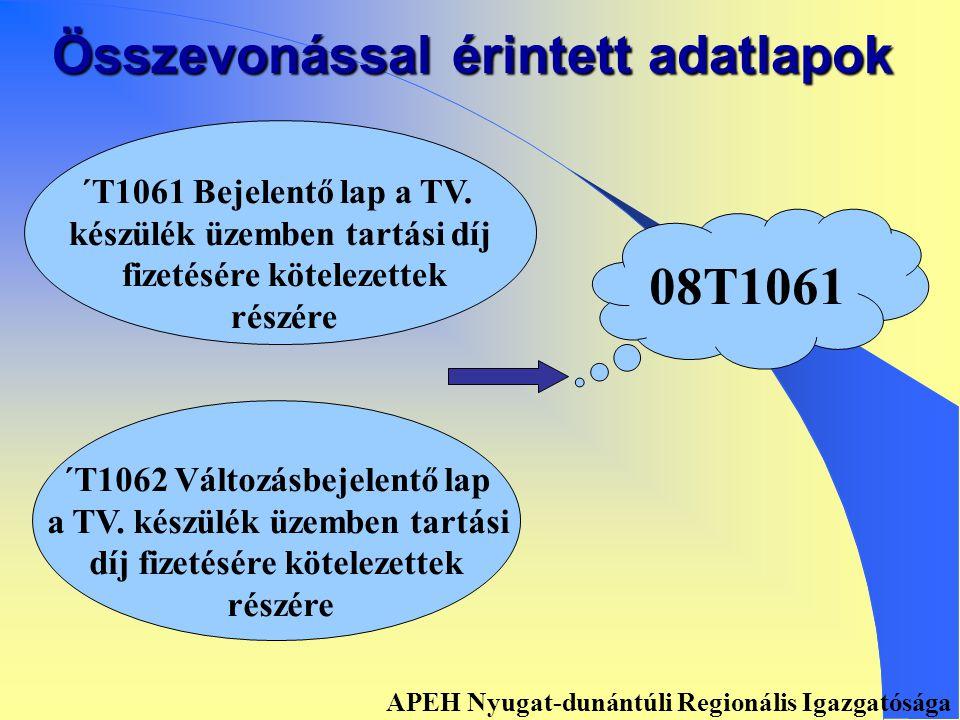 Összevonással érintett adatlapok ´T1011 Bejelentő lap az egész- ségügyi szolgáltatási járulék fizetésére kötelezettek részére ´T1021 Változásbejelentő lap az egészségügyi szolgáltatási járulék fizetésére kötelezettek részére 08T1011 APEH Nyugat-dunántúli Regionális Igazgatósága