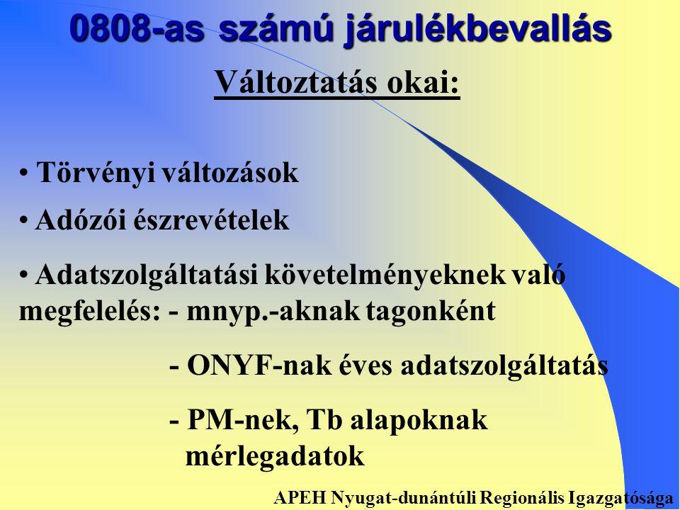 0808-AS SZÁMÚ JÁRULÉKBEVALLÁS APEH Nyugat-dunántúli Regionális Igazgatósága