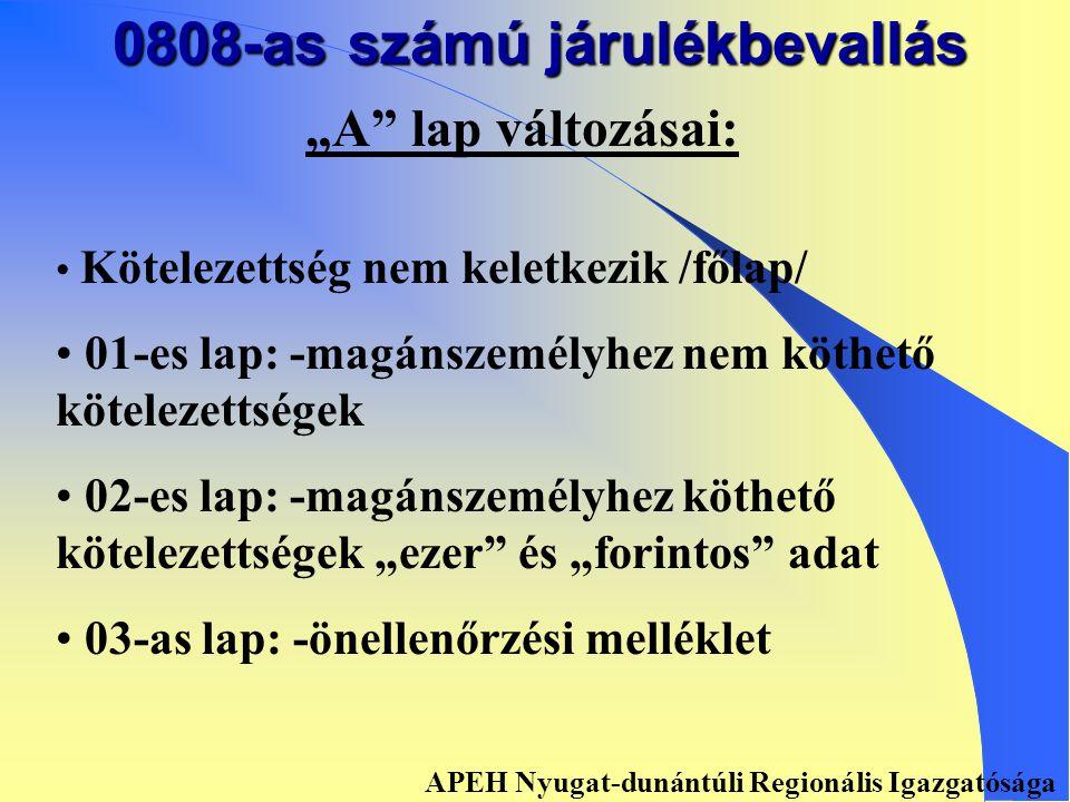 0808-as számú járulékbevallás Változtatás okai: • • Törvényi változások • • Adózói észrevételek • • Adatszolgáltatási követelményeknek való megfelelés: - mnyp.-aknak tagonként - ONYF-nak éves adatszolgáltatás - PM-nek, Tb alapoknak mérlegadatok APEH Nyugat-dunántúli Regionális Igazgatósága