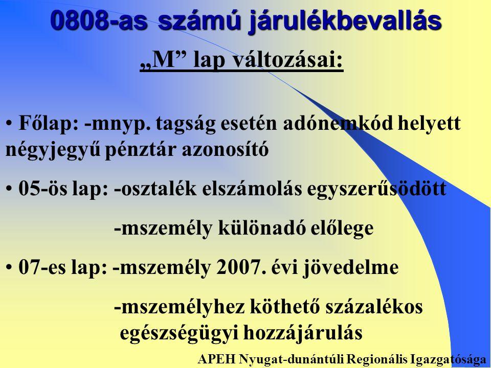 """0808-as számú járulékbevallás """"A lap változásai: • • Kötelezettség nem keletkezik /főlap/ • • 01-es lap: -magánszemélyhez nem köthető kötelezettségek • • 02-es lap: -magánszemélyhez köthető kötelezettségek """"ezer és """"forintos adat • • 03-as lap: -önellenőrzési melléklet APEH Nyugat-dunántúli Regionális Igazgatósága"""