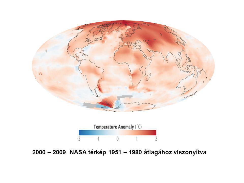 2000 – 2009 NASA térkép 1951 – 1980 átlagához viszonyítva