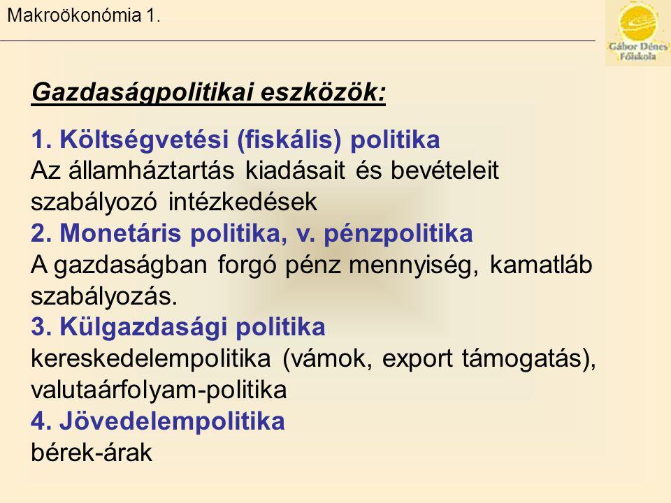 Gazdaságpolitikai eszközök: 1.