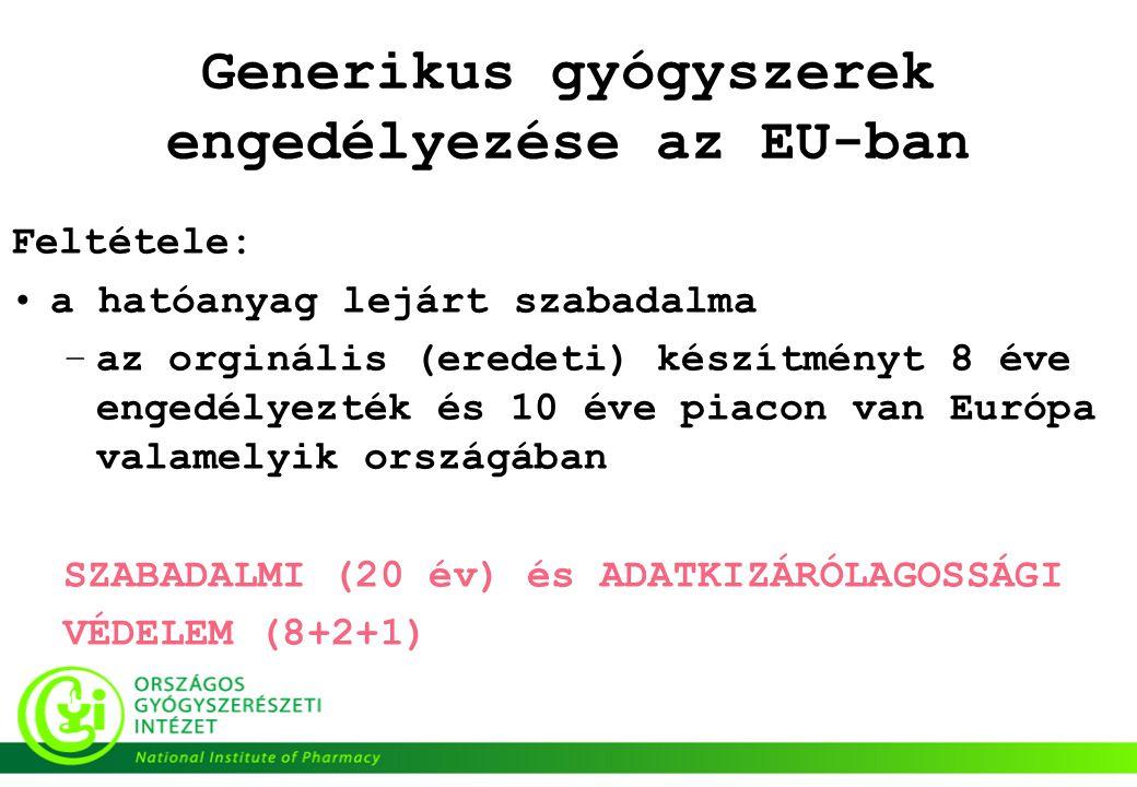 Generikus gyógyszerek engedélyezése az EU-ban Feltétele: •a hatóanyag lejárt szabadalma –az orginális (eredeti) készítményt 8 éve engedélyezték és 10 éve piacon van Európa valamelyik országában SZABADALMI (20 év) és ADATKIZÁRÓLAGOSSÁGI VÉDELEM (8+2+1)