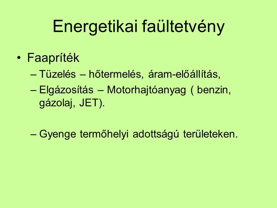 Energetikai faültetvény •Faapríték –Tüzelés – hőtermelés, áram-előállítás, –Elgázosítás – Motorhajtóanyag ( benzin, gázolaj, JET).