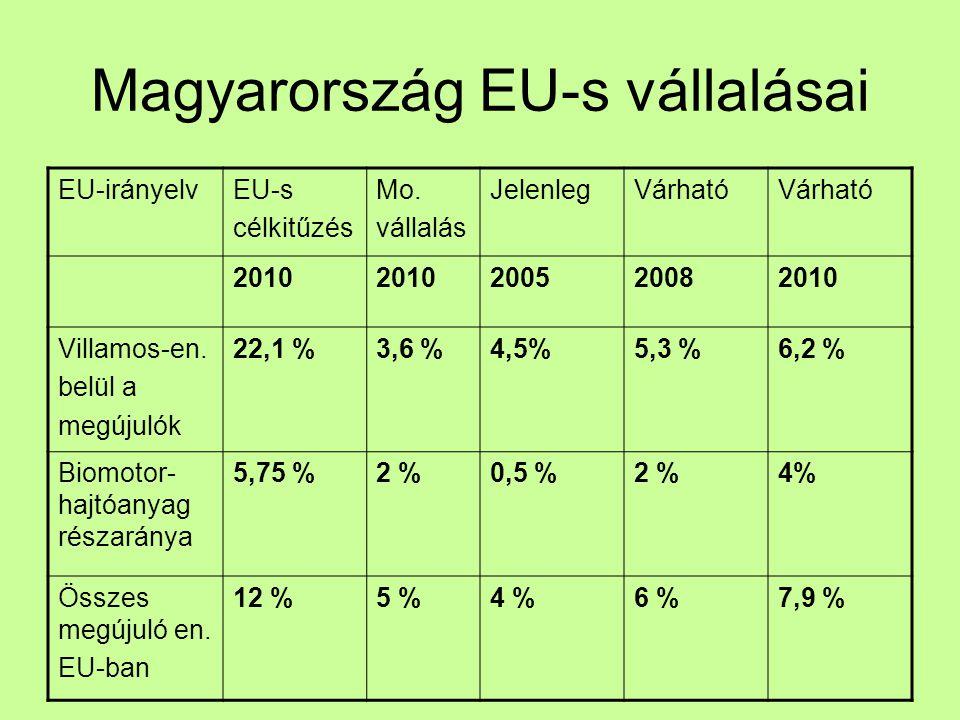 Magyarország EU-s vállalásai EU-irányelvEU-s célkitűzés Mo.