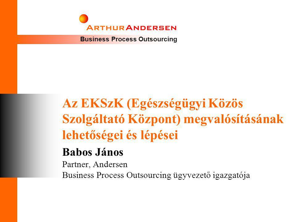 Business Process Outsourcing Az EKSzK (Egészségügyi Közös Szolgáltató Központ) megvalósításának lehetőségei és lépései Babos János Partner, Andersen B