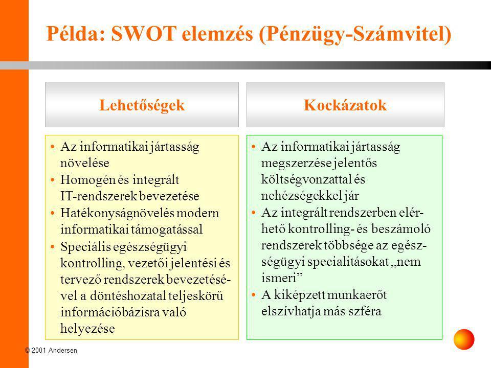 © 2001 Andersen •Az informatikai jártasság megszerzése jelentős költségvonzattal és nehézségekkel jár •Az integrált rendszerben elér- hető kontrolling