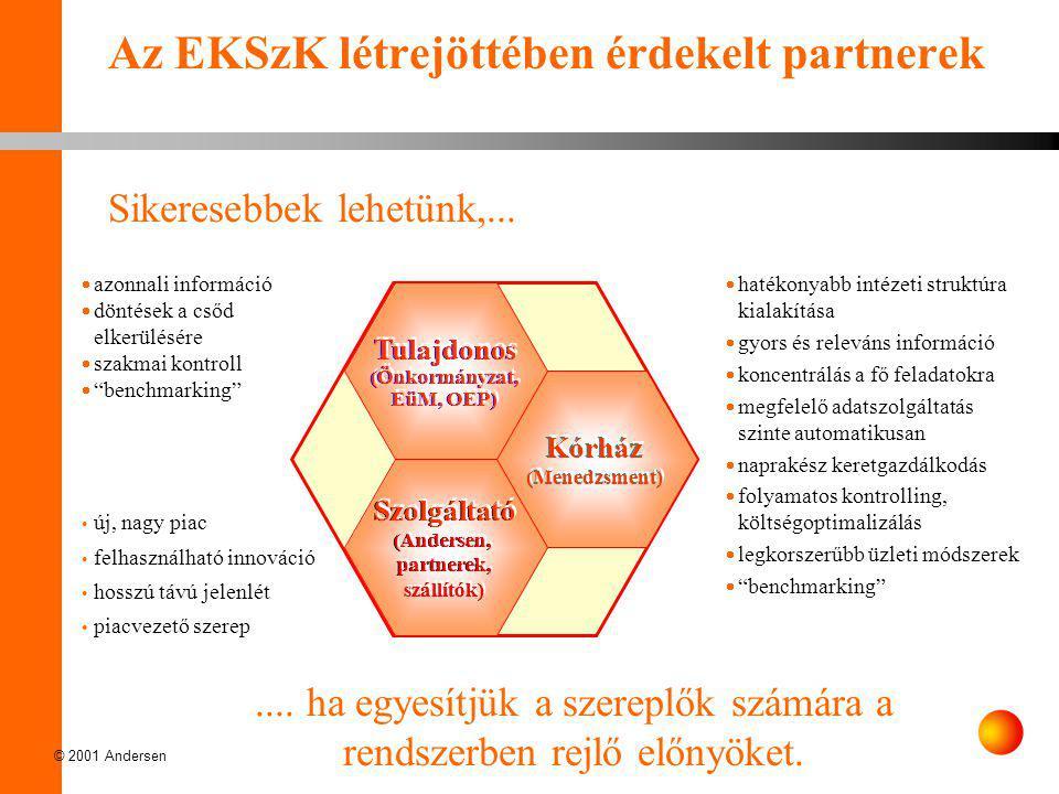 © 2001 Andersen Az EKSzK létrejöttében érdekelt partnerek Kórház (Menedzsment) Szolgáltató (Andersen, partnerek, szállítók) Tulajdonos (Önkormányzat,