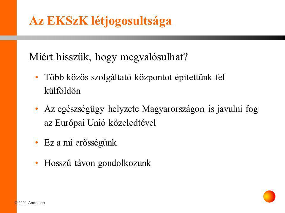 © 2001 Andersen Az EKSzK létjogosultsága Miért hisszük, hogy megvalósulhat? •Több közös szolgáltató központot építettünk fel külföldön •Az egészségügy