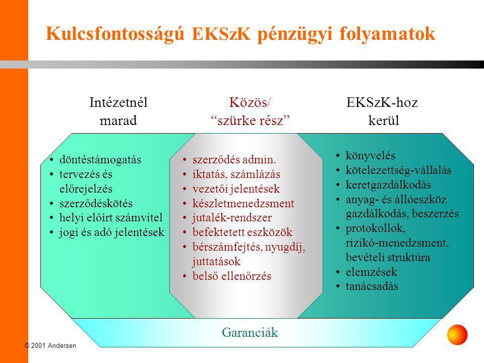 """© 2001 Andersen Kulcsfontosságú EKSzK pénzügyi folyamatok Intézetnél marad EKSzK-hoz kerül Közös/ """"szürke rész"""" •döntéstámogatás •tervezés és előrejel"""