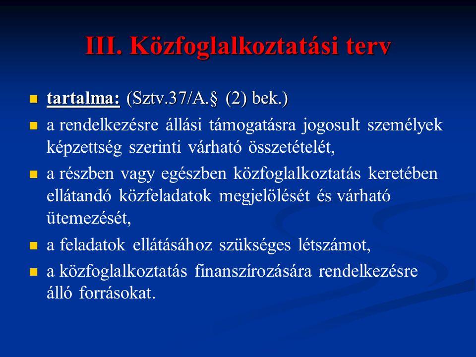 III. Közfoglalkoztatási terv  tartalma: (Sztv.37/A.§ (2) bek.)   a rendelkezésre állási támogatásra jogosult személyek képzettség szerinti várható