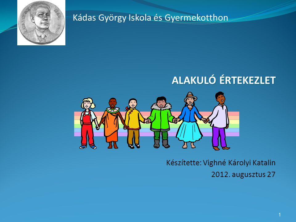ALAKULÓ ÉRTEKEZLET Készítette: Vighné Károlyi Katalin 2012. augusztus 27 1 Kádas György Iskola és Gyermekotthon