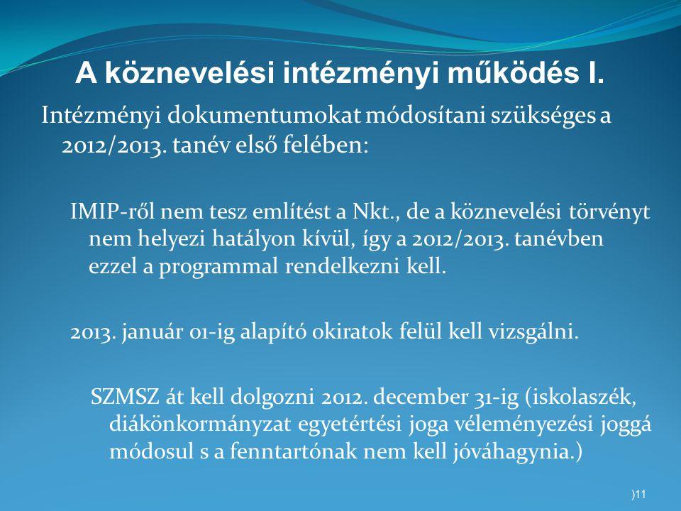 A köznevelési intézményi működés I. Intézményi dokumentumokat módosítani szükséges a 2012/2013. tanév első felében: IMIP-ről nem tesz említést a Nkt.,
