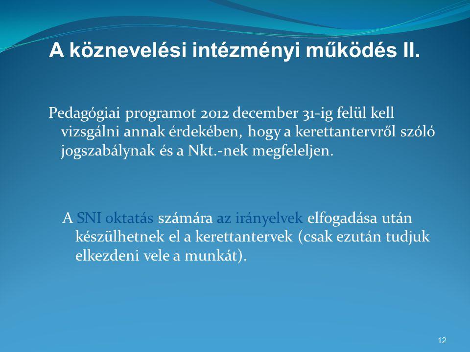A köznevelési intézményi működés II. Pedagógiai programot 2012 december 31-ig felül kell vizsgálni annak érdekében, hogy a kerettantervről szóló jogsz