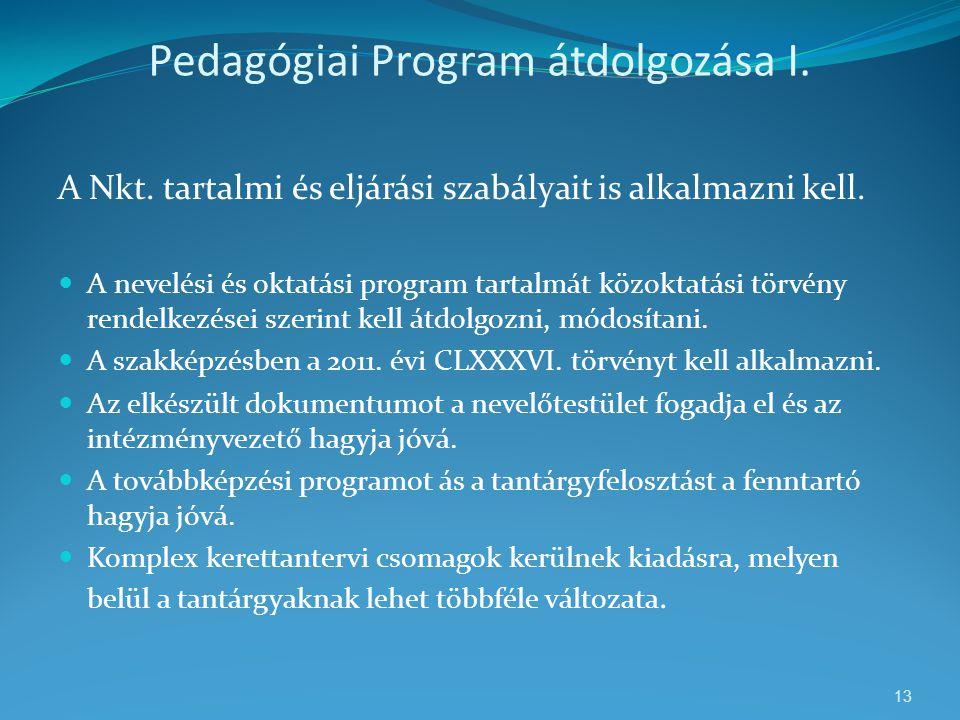 Pedagógiai Program átdolgozása I. A Nkt. tartalmi és eljárási szabályait is alkalmazni kell.  A nevelési és oktatási program tartalmát közoktatási tö