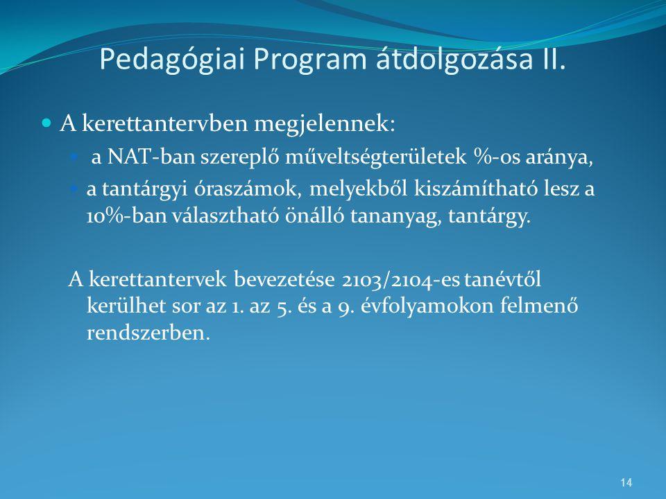 Pedagógiai Program átdolgozása II.  A kerettantervben megjelennek:  a NAT-ban szereplő műveltségterületek %-os aránya,  a tantárgyi óraszámok, mely