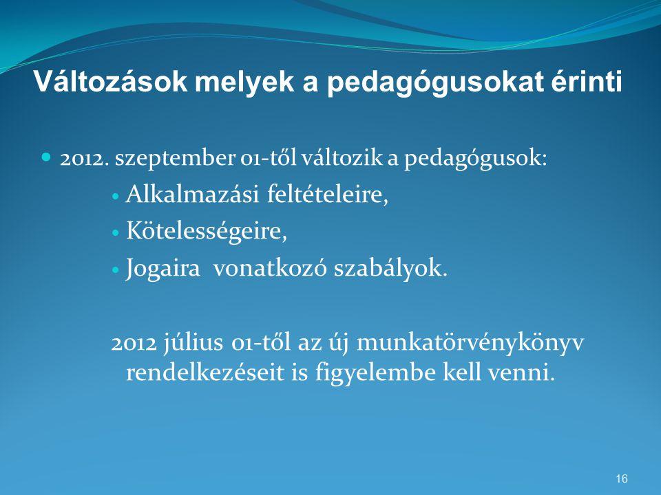 Változások melyek a pedagógusokat érinti  2012. szeptember 01-től változik a pedagógusok:  Alkalmazási feltételeire,  Kötelességeire,  Jogaira von