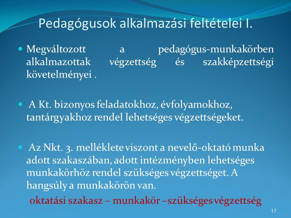 Pedagógusok alkalmazási feltételei I.