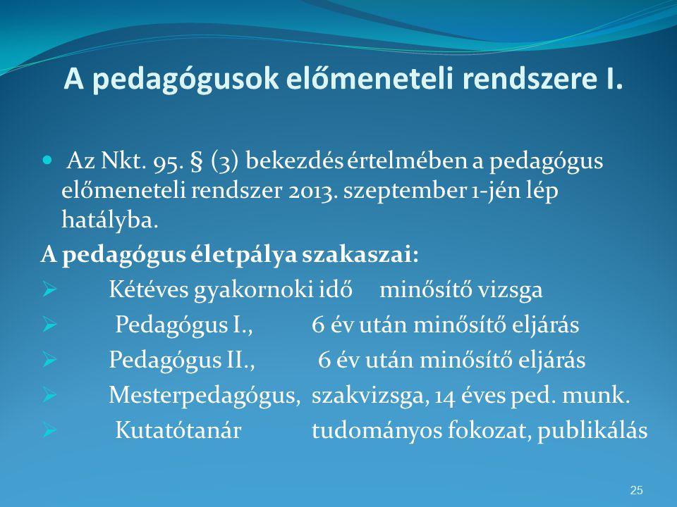 A pedagógusok előmeneteli rendszere I.  Az Nkt. 95. § (3) bekezdés értelmében a pedagógus előmeneteli rendszer 2013. szeptember 1-jén lép hatályba. A
