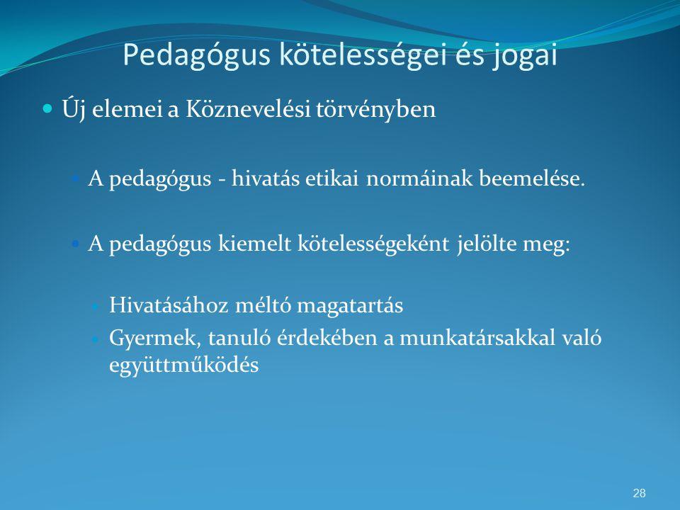 Pedagógus kötelességei és jogai  Új elemei a Köznevelési törvényben  A pedagógus - hivatás etikai normáinak beemelése.  A pedagógus kiemelt köteles