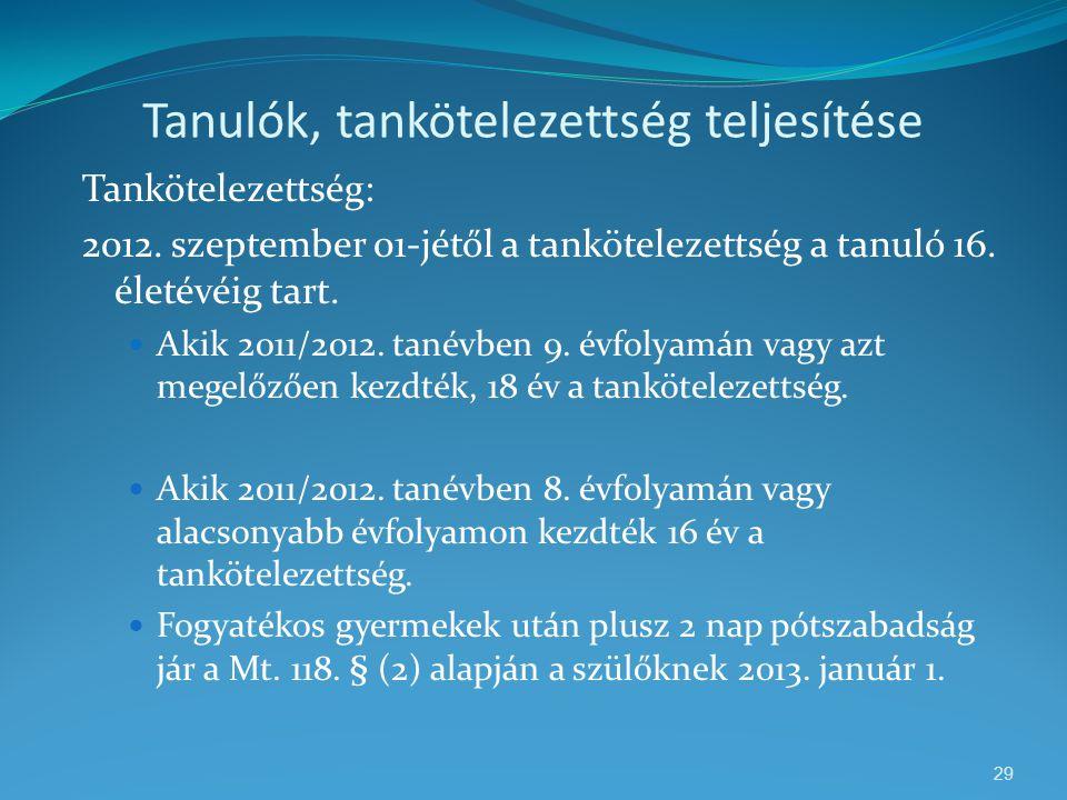 Tanulók, tankötelezettség teljesítése Tankötelezettség: 2012. szeptember 01-jétől a tankötelezettség a tanuló 16. életévéig tart.  Akik 2011/2012. ta