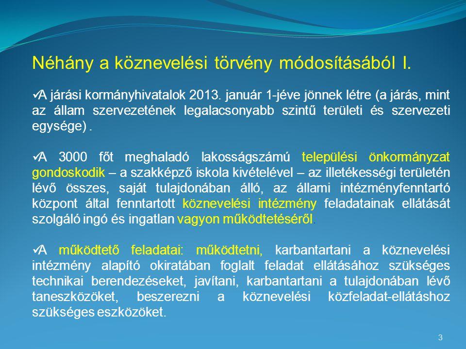 3 Néhány a köznevelési törvény módosításából I.  A járási kormányhivatalok 2013. január 1-jéve jönnek létre (a járás, mint az állam szervezetének leg