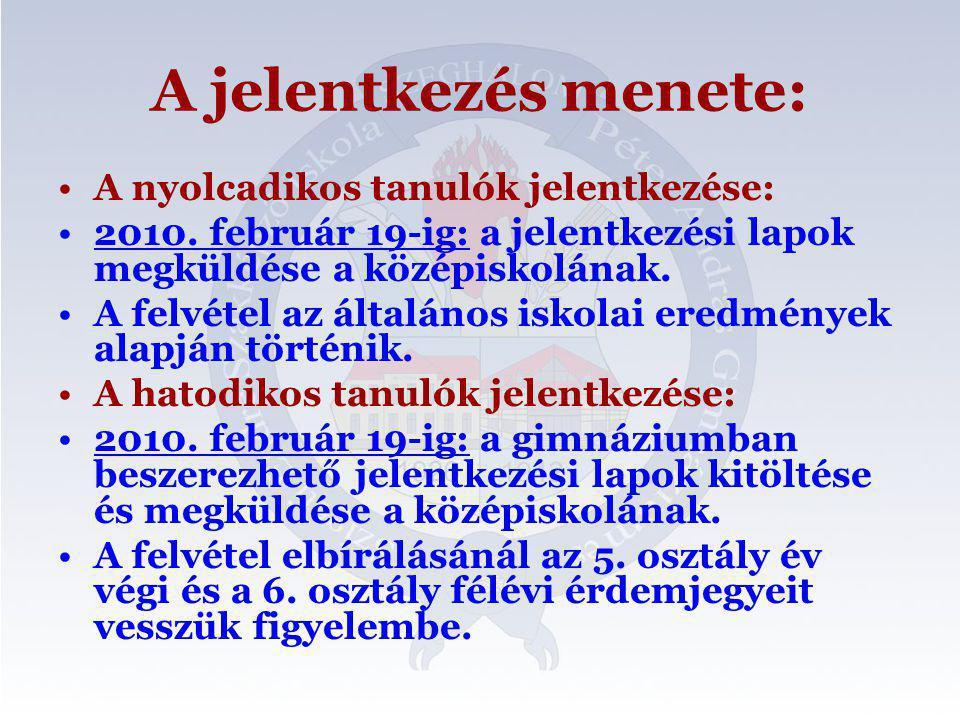 A jelentkezés menete: •A nyolcadikos tanulók jelentkezése: •2010. február 19-ig: a jelentkezési lapok megküldése a középiskolának. •A felvétel az álta