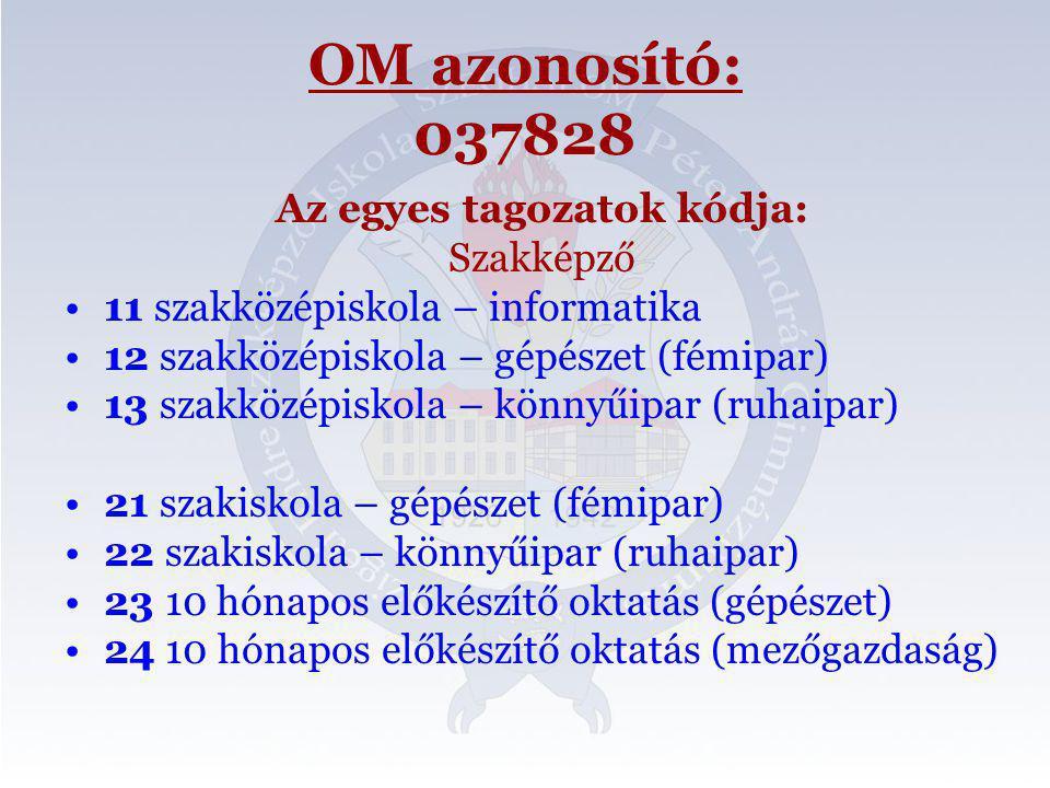 OM azonosító: 037828 Az egyes tagozatok kódja: Szakképző •11 szakközépiskola – informatika •12 szakközépiskola – gépészet (fémipar) •13 szakközépiskol
