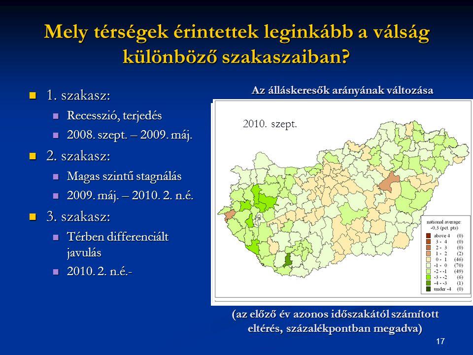 17 Mely térségek érintettek leginkább a válság különböző szakaszaiban?  1. szakasz:  Recesszió, terjedés  2008. szept. – 2009. máj.  2. szakasz: 