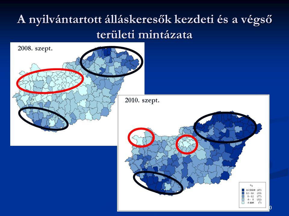 20 A nyilvántartott álláskeresők kezdeti és a végső területi mintázata 2008. szept. 2010. szept.
