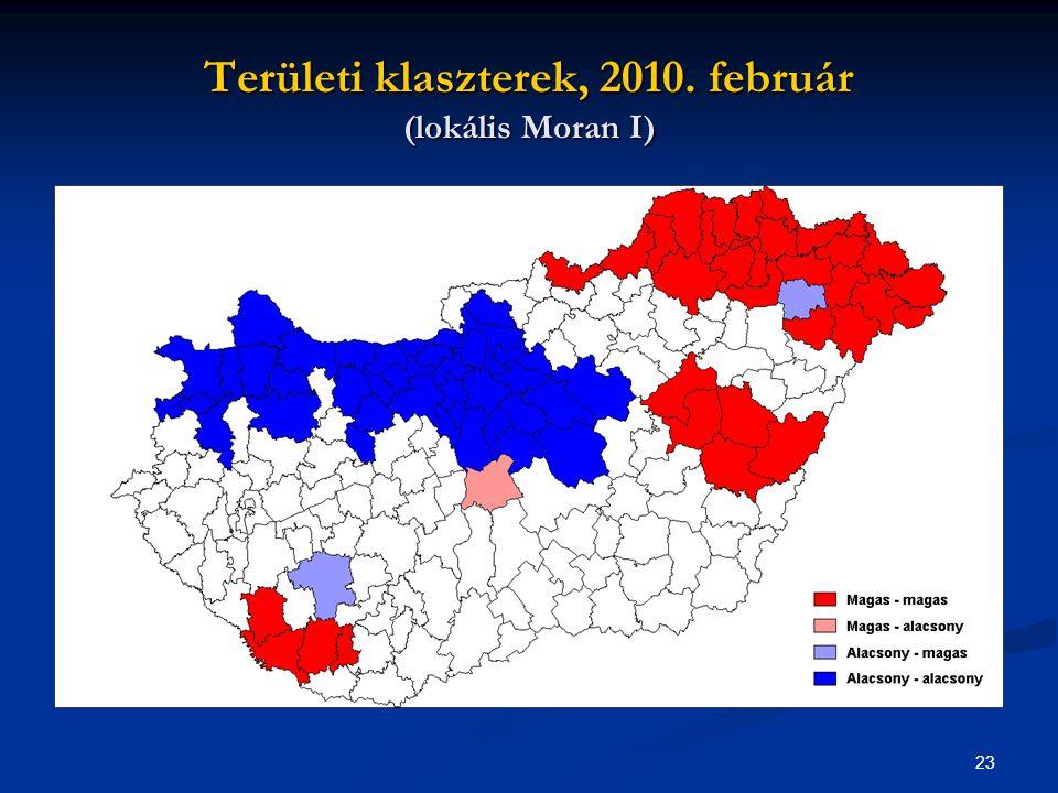 23 Területi klaszterek, 2010. február (lokális Moran I)