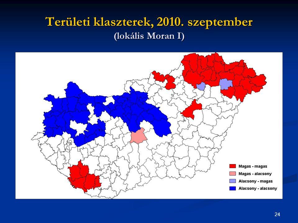 24 Területi klaszterek, 2010. szeptember (lokális Moran I)
