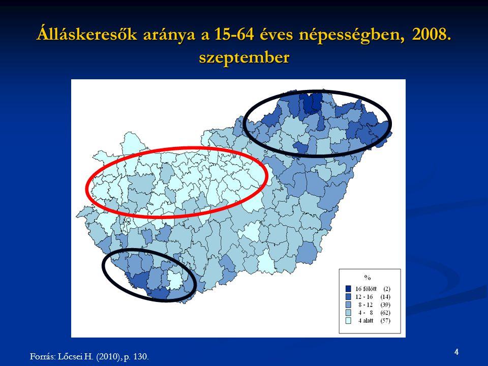"""5 Foglalkoztatási ráta a magyar régiókban, 1992-2009 (""""konvergencia-klubok ) Adatok forrása: KSH Lakossági Munkaerő-felmérés (15-74 éves népességhez képest)"""