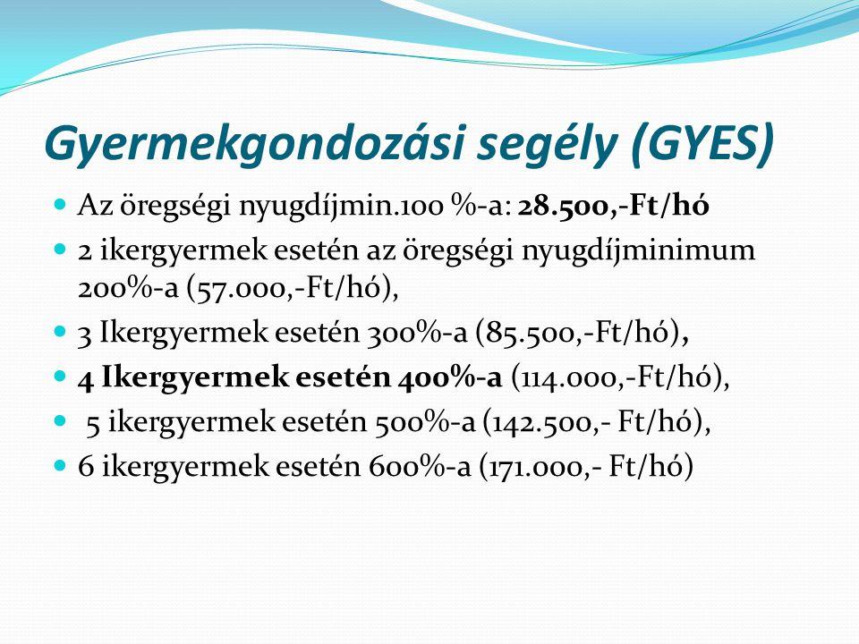 Gyermekgondozási segély (GYES)  Az öregségi nyugdíjmin.100 %-a: 28.500,-Ft/hó  2 ikergyermek esetén az öregségi nyugdíjminimum 200%-a (57.000,-Ft/hó