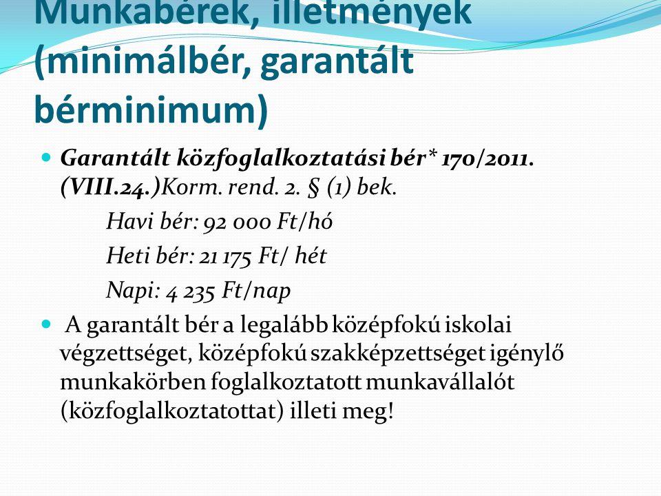 Munkabérek, illetmények (minimálbér, garantált bérminimum)  Garantált közfoglalkoztatási bér* 170/2011. (VIII.24.)Korm. rend. 2. § (1) bek. Havi bér:
