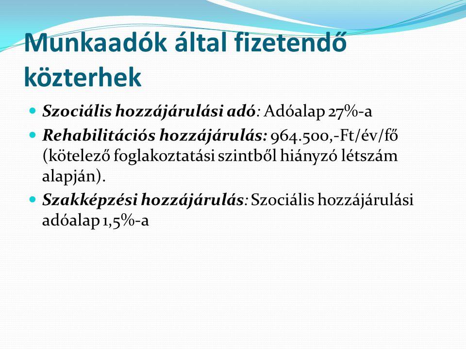 Munkaadók által fizetendő közterhek  Szociális hozzájárulási adó: Adóalap 27%-a  Rehabilitációs hozzájárulás: 964.500,-Ft/év/fő (kötelező foglakozta