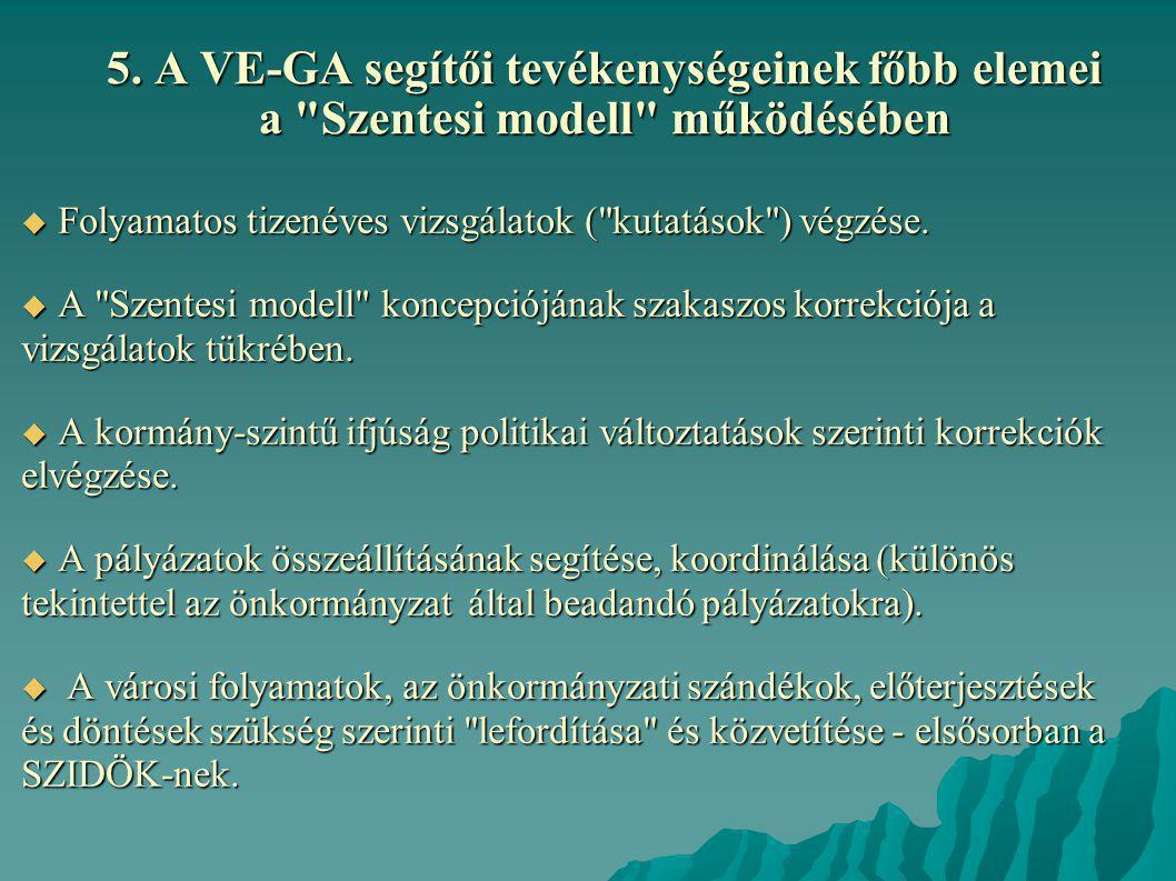 5. A VE-GA segítői tevékenységeinek főbb elemei a