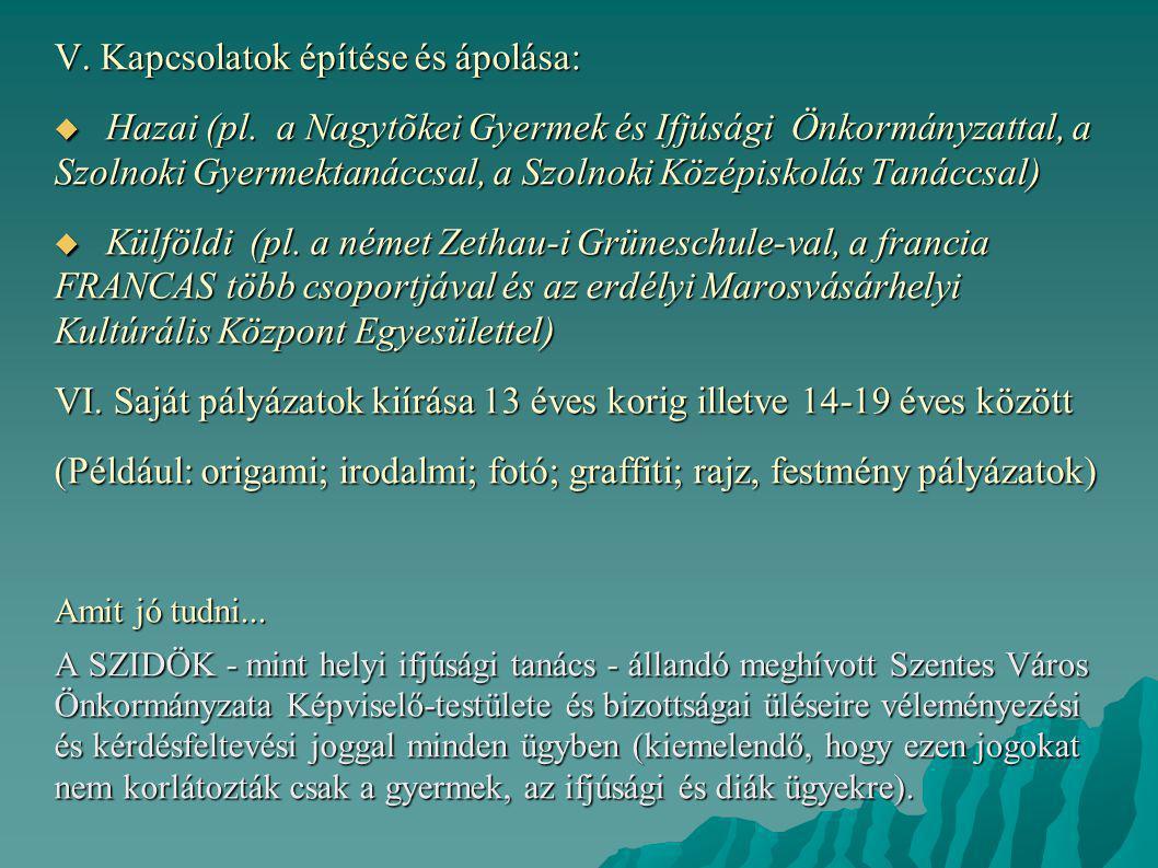 V. Kapcsolatok építése és ápolása:  Hazai (pl. a Nagytõkei Gyermek és Ifjúsági Önkormányzattal, a Szolnoki Gyermektanáccsal, a Szolnoki Középiskolás