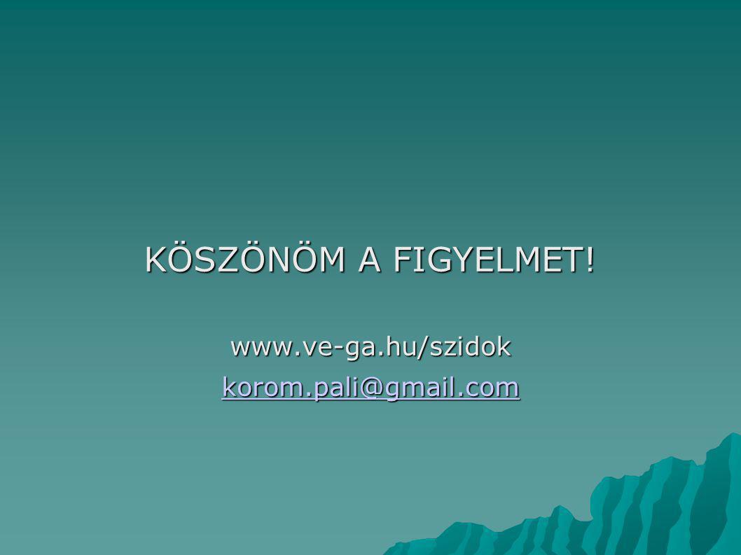 KÖSZÖNÖM A FIGYELMET! www.ve-ga.hu/szidok korom.pali@gmail.com