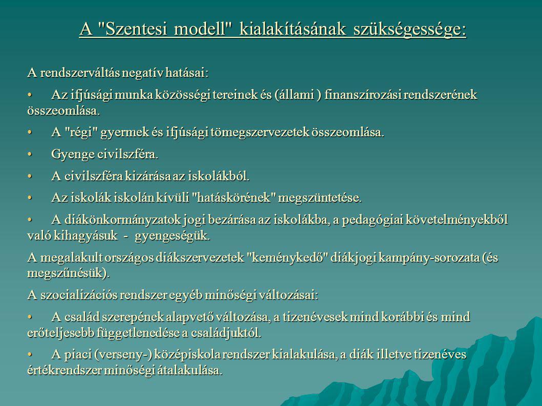 A Szentesi modell kialakításának szükségessége: A rendszerváltás negatív hatásai: • Az ifjúsági munka közösségi tereinek és (állami ) finanszírozási rendszerének összeomlása.