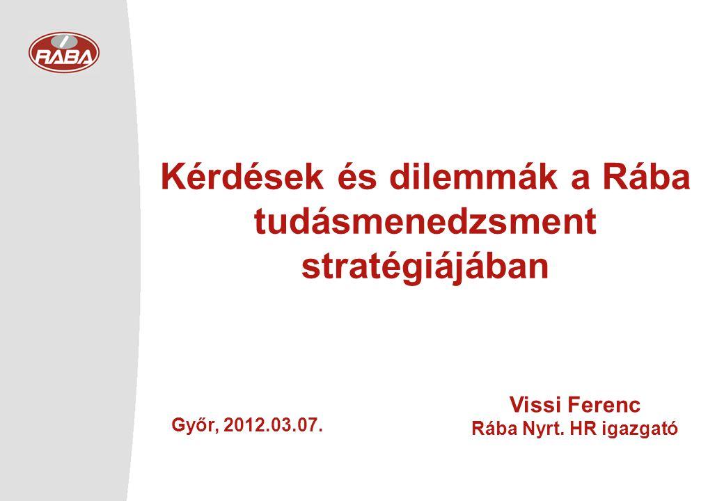 Kérdések és dilemmák a Rába tudásmenedzsment stratégiájában Győr, 2012.03.07.