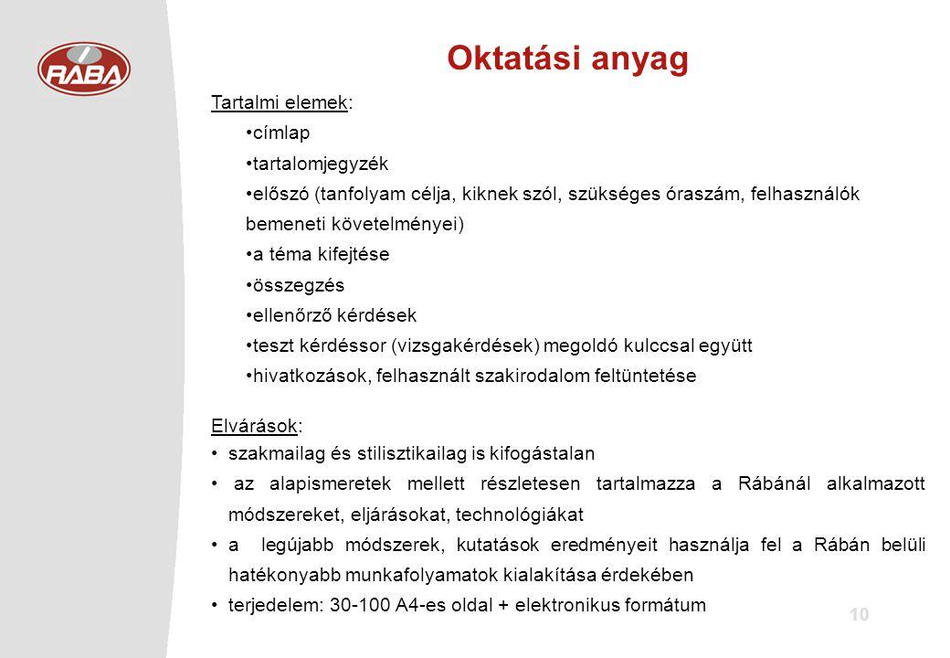 10 Oktatási anyag Tartalmi elemek: •címlap •tartalomjegyzék •előszó (tanfolyam célja, kiknek szól, szükséges óraszám, felhasználók bemeneti követelményei) •a téma kifejtése •összegzés •ellenőrző kérdések •teszt kérdéssor (vizsgakérdések) megoldó kulccsal együtt •hivatkozások, felhasznált szakirodalom feltüntetése Elvárások: •szakmailag és stilisztikailag is kifogástalan • az alapismeretek mellett részletesen tartalmazza a Rábánál alkalmazott módszereket, eljárásokat, technológiákat •a legújabb módszerek, kutatások eredményeit használja fel a Rábán belüli hatékonyabb munkafolyamatok kialakítása érdekében •terjedelem: 30-100 A4-es oldal + elektronikus formátum