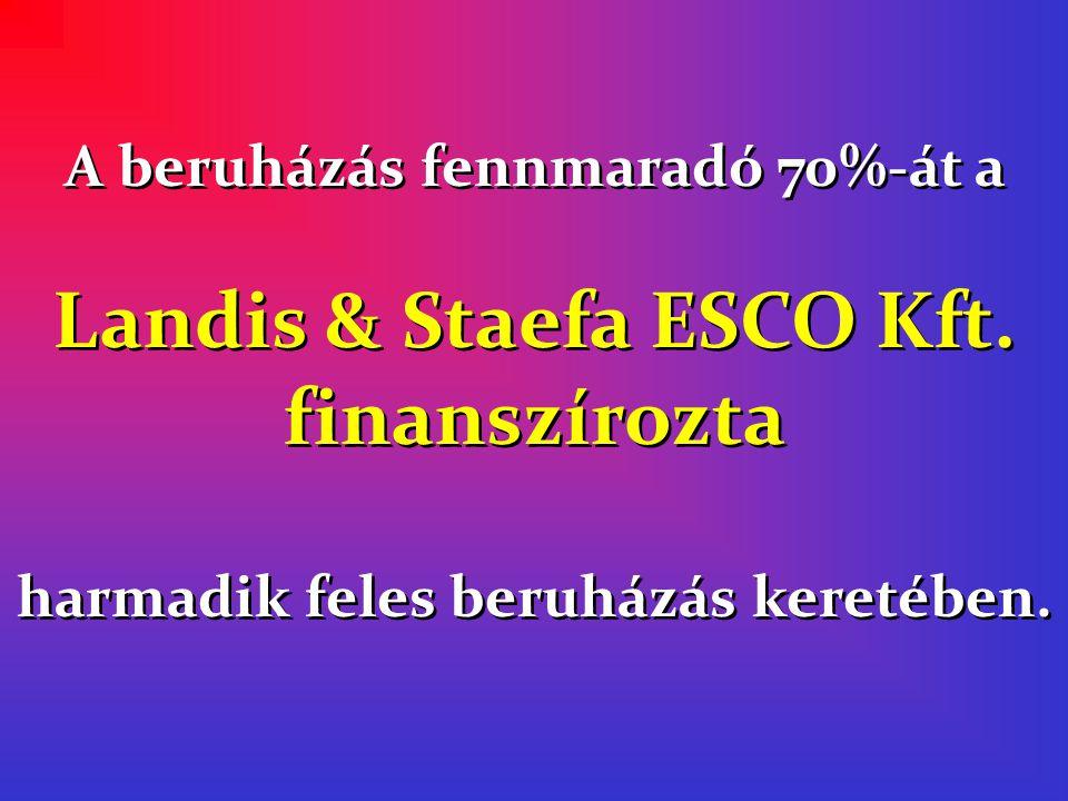 A beruházás fennmaradó 70%-át a Landis & Staefa ESCO Kft.