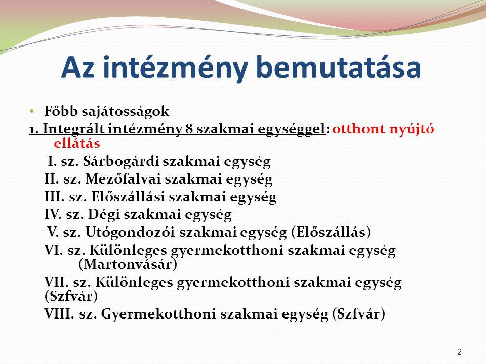 Az intézmény bemutatása • Főbb sajátosságok 1. Integrált intézmény 8 szakmai egységgel: otthont nyújtó ellátás I. sz. Sárbogárdi szakmai egység II. sz